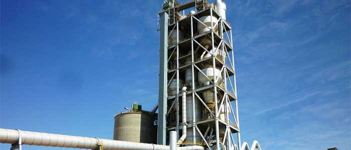 5-stage cyclone preheater in a cement plant.