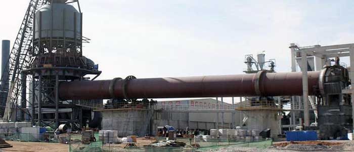 Rotary kiln in a cement plant