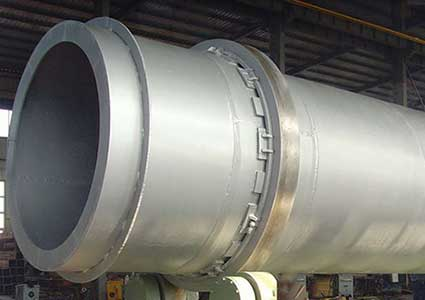 The kiln shell of a rotary kiln.