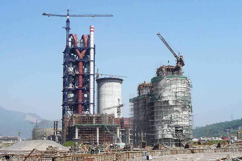 A large cement plant during construction.