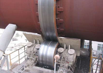 The roller of a cement rotary kiln.