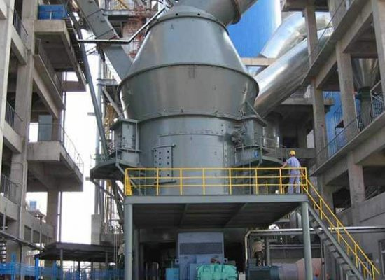 A vertical roller mill in operation.