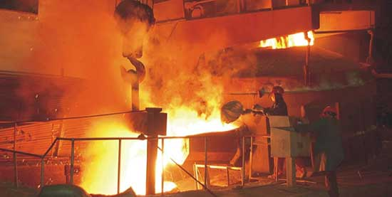 an operating 40t arc furnace