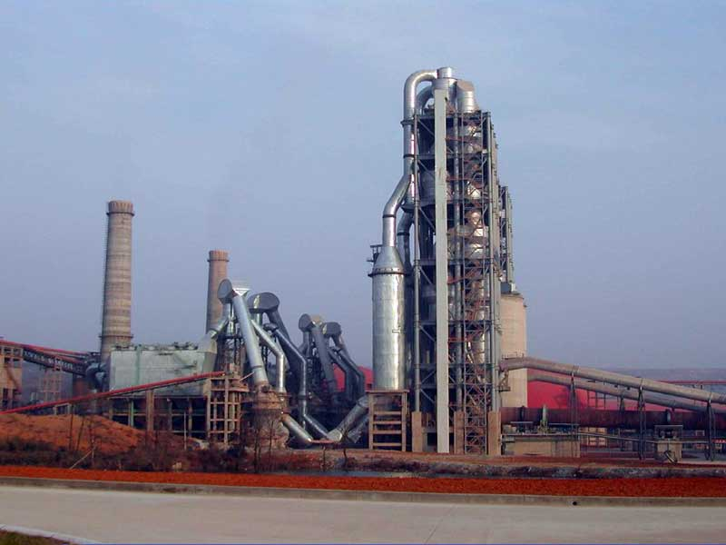 The 5-stage preheater cyclone in a cement plant