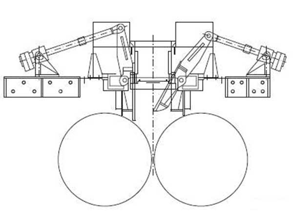 The design structure of a roller press.