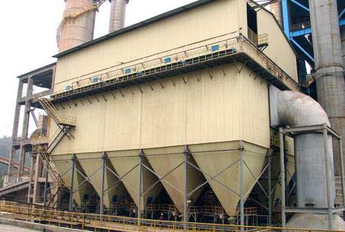 Bag filter in cement plant with ten filter bag sets.