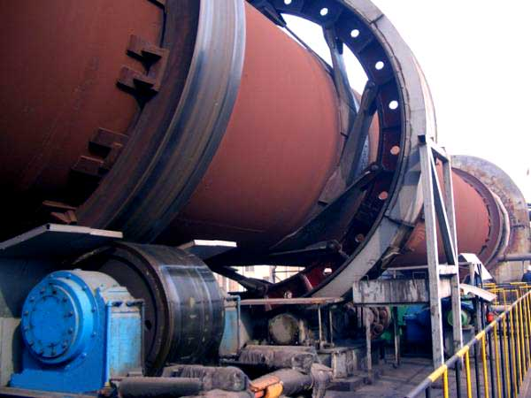 rotary kiln during operation