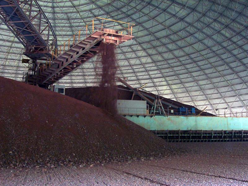 cement raw material homogenization in dome yard